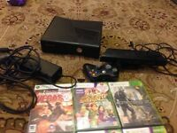 Xbox 360 slim one controller 9 games Kinect all wires all work v g c all in pic