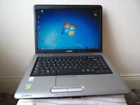 "LAPTOP TOSHIBA .15.4"" SCREEN.DUAL CORE. 2GB RAM,LOOK+NEW BATTERY,WINDOWS 7/OFFICE.CASEDVDRW,WIFI"