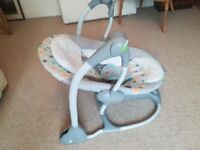 Baby Swing Seat - Converts from swing to vibrating seat design folds flat for easy storage or travel