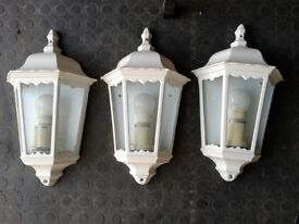 outdoor wall lights x3 in white including energy saving bulbs