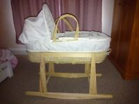 Clair De Lune moses basket moses basket and stand, with washable mattress and two fitted sheets.