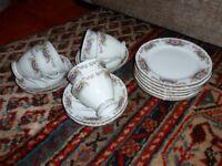 Porcelain Tea Set - Floral Design. 6 cups, 6 saucers , & 6 side plates