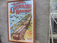 LIVERPOOLS HERITAGE THE OVERHEAD RAILWAY POSTER IN GLASS FRAME FULL SIZE