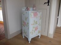 Shabby chic bedside cabinet or bathroom cupboard with faux drawer