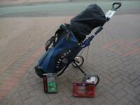 LEFT HANDED GOLF CLUB SET WITH BAG , TROLLEY AND EXTRAS