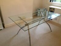 Glass Rectangular Dining Table with Chrome Frame, Seats Up To 6 - Effezeta (Italy)