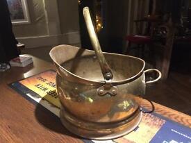Old Brass Large Trinket Ash Bucket