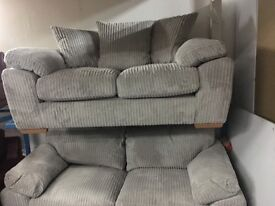 NEW / Ex Display Dfs Gery Cord 3 Seater Sofa + 2 Seater SofaBed