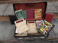 Vintage Magic Books, suitcase full of a selection of magic trick manuals from 1950's,