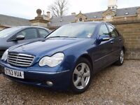 Merc C-class 180 Auto Elegance, superb condition, FSH, MOT'd 2018, Blue/light interior, wood trim.