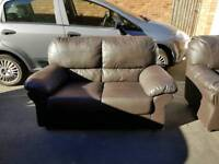 2 x 2 seater leather effect sofas