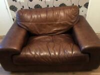 Italian Leather Two & One Seater Chair And Settee