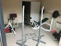 Weights bench squat rack spinning bike