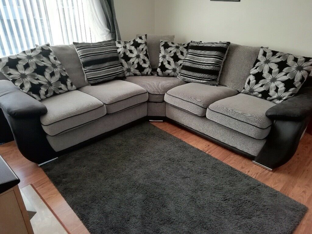 Corner Sofa Leather And Fabric