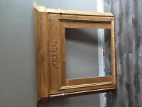 Corner fireplace mantle with top piece