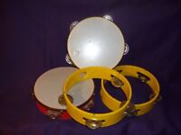 4 x 7 inch (18cm) Tambourines with Plastic Frames and Metal Jingles,