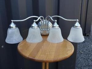 4 LAMP Lighting Strips / Chrome Stainless steel with Glass shades - Oakville 905 510-8720  like NEW -  PRICE DROP!