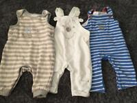 3 Baby dungarees. Size 3-6 months.