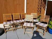 Outdoor wooden chairs. Foldable X6. As new Bargain £40 !!!!!