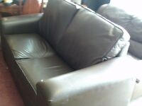 BROWN LEATHER DOUBLE SIZE SOFA BED