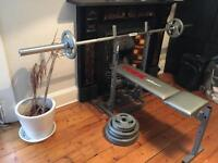 20kg Olympic bar with bench and weights