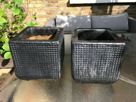 2 square garden pots planters
