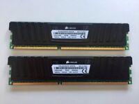 A PAIR OF CORSAIR VENGEANCE LP 8GB (2x4GB) DDR3 RAM 1600MHz PC MEMORY MODULES CML8GX3M2A1600C