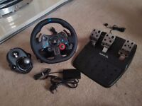 Logitech G29 Driving Force Racing Wheel + Shifter | PS4, PS3, PC | BARELY USED