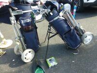 2 golf club set inc bag /trolleys