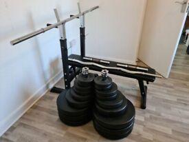 Bench, Bars, Dumbbells & Weights (160kg Total)