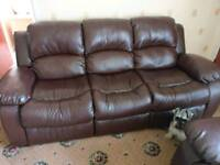 Brown Faux Leather 3 Seater