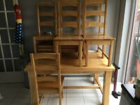 Solid wooden 6 seater dining room table and chairs set