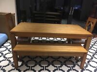 Solid oak dining table with benches and 2 chairs