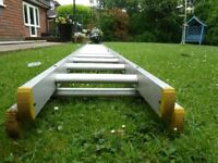 """Double Ladder, Used undamaged, 11 ft 5"""" (348 cm) when closed, rubber feet, heavy quality aluminium"""