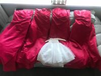 4 Evie Pink Coral Bridesmaids dresses and 1 flower girl dress for sale.