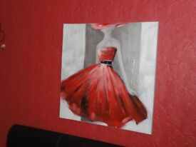 Canvas painting, lady in red dress, 80 x 80cm