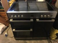 Belling Double Over Range Electric Cooker Black and Silver