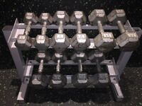 Cast Iron Hex Dumbell Set and Storage Rack
