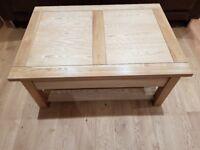 Solid wood coffee table with internal storage & shelf