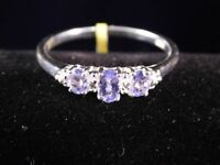 New Tanzanite (Ovl) 3 Stone Ring in Sterling Silver 0.550 Ct. Size T