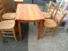 Pine drop leaf table and 4chairs