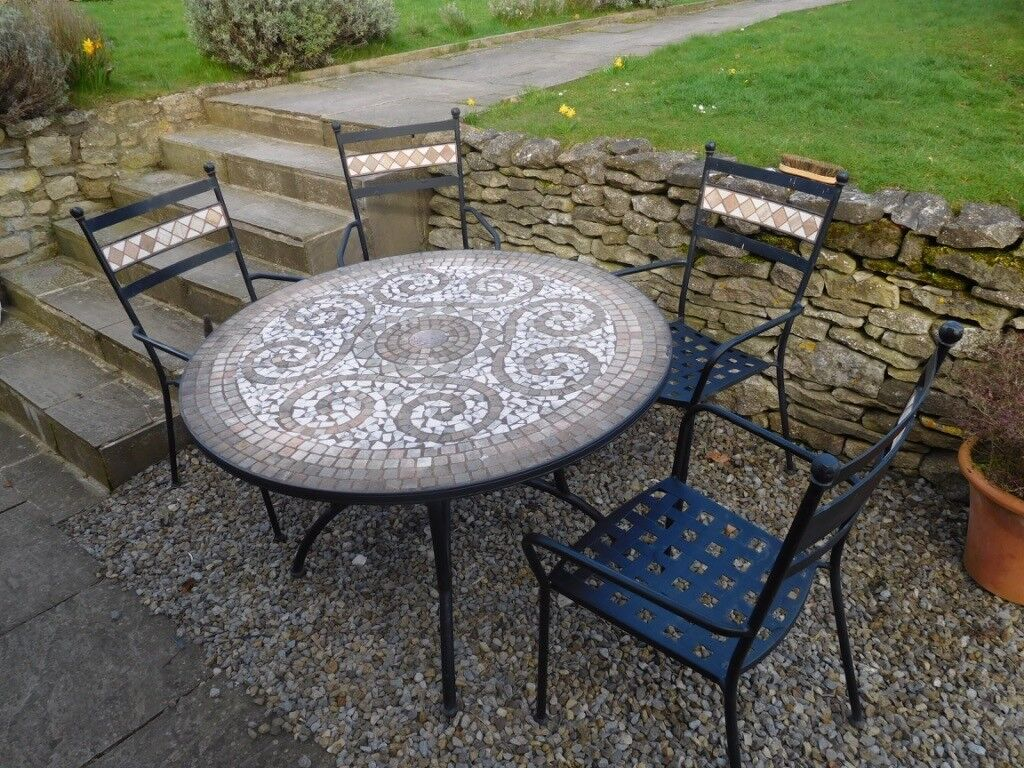 Marks Spencer Ceramic Mosaic Patio Garden Table Chairs