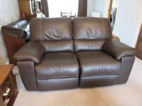 Brown leather electric reclining sofa and 2 armchairs