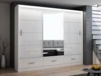 BRAND NEW HIGH GLOSS BLACK OR WHITE SLIDING DOOR MARSYLA WARDROBE WITH LED LIGHT