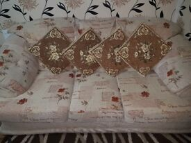 Beige fabric sofa set..3 seater and 2×1 seater..perfect condition
