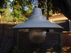 Lamp, in metal & glass approx 30cm dia.