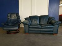 BLUE LEATHER EKORNES STRESSLESS RECLINING CHAIR & MATCHING SOFA / SETTEE SUITE DELIVERY AVAILABLE