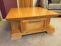 Craftsman-Made, Solid Wood Coffee Table with Storage and Display Shelves