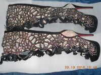 BESPOKE ROMANY STYLE LADIES KNEE HIGH CRYSTAL COVERED BOOTS