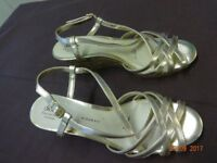 Debenhams Collection 'Good for the Sole' wedge gold sandals VGC - unmarked